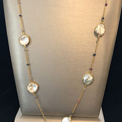 White Coin Pearl and Multi-Color Sapphire Necklace