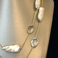 Faceted Clear Quartz and White Fresh Water Baroque Pearl Necklace