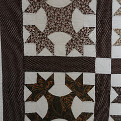 Antique Brown Calico Oak Leaf Patchwork Quilt