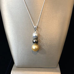 11.5mm – 9mm South Sea White, Gold, and Grey Tahitian Graduated Pearl Necklace