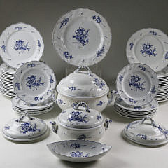 55 Piece Limbach Transferware Partial Dinner Service, Germany early 19th Century