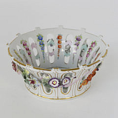 French Porcelain Reticulated Basket with Applied Flowers, 19th c.