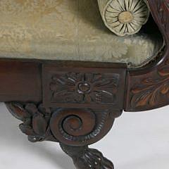 American Empire Carved Mahogany Classical Sofa