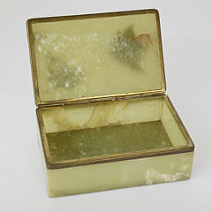 Vintage Alabaster Box with Inlaid Fish Decoration