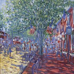 "Illya Kagan Oil on Canvas, ""4th of July on Main Street, Nantucket"""