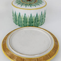 Majolica Ceramic Cheese Dome with Cow Finial