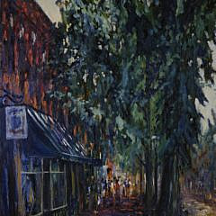 "Illya Kagan Oil on Canvas, ""Main Street, Nantucket"""