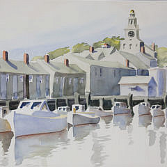 "Monumental Doris and Richard Beer Watercolor on Paper, ""Old North Wharf"""