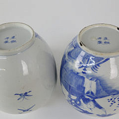 Pair Chinese Export Underglazed Blue and White Covered Ginger Jars, 19th c.