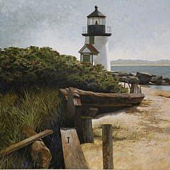 "R. Benjamin Jones Acrylic on Panel, ""Brant Point Light, Nantucket"""