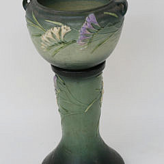 Roseville Pottery Freesia Green Jardiniere and Pedestal Stand