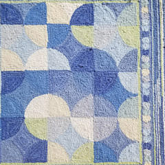 Contemporary Concentric Circle Shades of Blue Hooked Runner