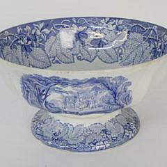 Blue Transferware Punch Bowl, 19th c.