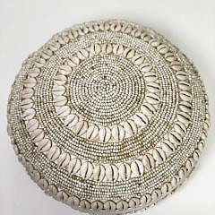 Round Bali Shell and Bead Covered Box