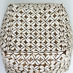 Square Bali Encrusted Shell Rattan Box