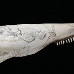 Pair of Scrimshaw Porpoise Jawbones, 19th c.
