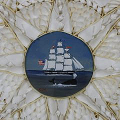 Contemporary White Shell Sailor's Valentine with Charlie Munro Central Painting