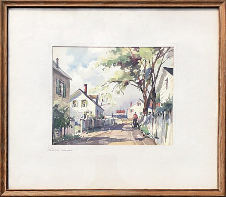 "1-4907 John Cuthbert Hare watercolor ""Cape Cod Summer"" A IMG_4883"