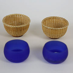 Pair of Nantucket Basket Open Salts with Cobalt Glass Liners