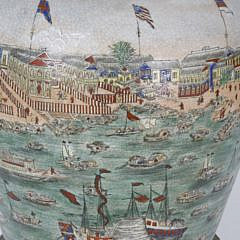 Hong's Canton Decorated Crackle Glazed and Bronze Covered Temple Jar