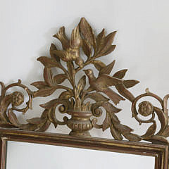 Antique French Gilt and Carved Mirror with Love Bird Pediment