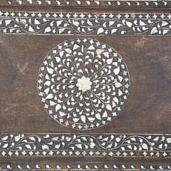Vintage Carved Moroccan Inlaid Serving Tray