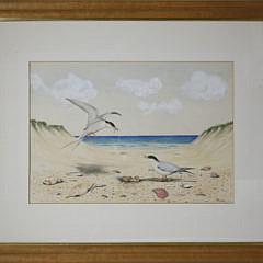 "12-4878 D. Puleston watercolor ""Shorebirds in the Dunes"" A_MG_6195"