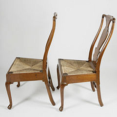 Pair of Pennsylvania Walnut Queen Anne Side Chairs