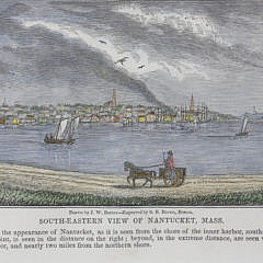 """J.W. Barber Hand Colored Engraving, """"Southeastern View of Nantucket, Massachusetts"""""""