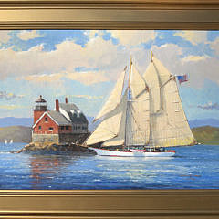 "129-3520 William Lowe ""Passing Rockland Breakwater Lighthouse Maine"" A IMG_4923"