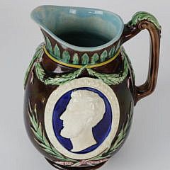 Wedgwood Pitcher with Portraits of Washington and Lincoln