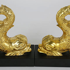 Pair of Gilt Metal Sea Serpent Bookends