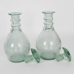Pair of Blown Green Glass Decanters