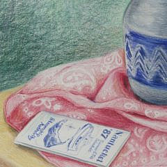 """E. Cooper Pencil on Paper, """"Still Life Zinnias in Blue and White Jug"""""""