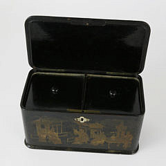 Chinese Lacquer and Gilt Tea Caddy, 19th Century