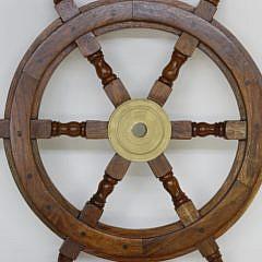 Contemporary Mahogany Ship's Wheel