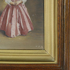 """Miniature Oil on Board """"Girl With Bird Cage"""""""