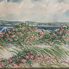 """Marilyn Chamberlain Watercolor """"Rosa Rugosa in Full Bloom at Brant Point Lighthouse"""""""