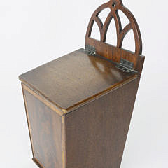 Mahogany Crossbanded Hanging Salt Box, Early 19th c.