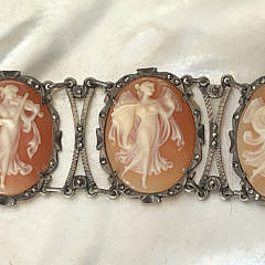 Antique Carved Six Cameo Bracelet