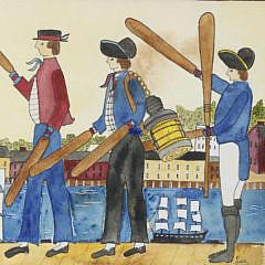 "Judith Brinck Folk Art Watercolor, ""Paddle Parade"""