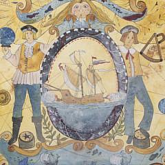 "Judith Brinck Folk Art Watercolor, ""Voyage of Discovery"""