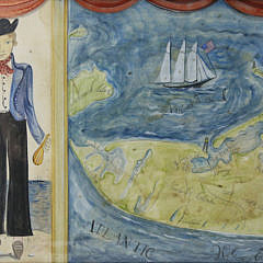 "Kolene Spicher Folk Art Map of Nantucket, ""The Sailor From Sconset"", Watercolor"