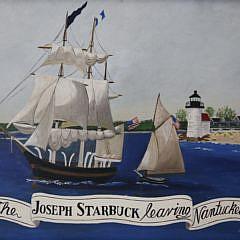 "J.L. Di Scala Oil on Canvas, ""The Joseph Starbuck Leaving Nantucket"""
