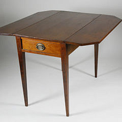 New England Hepplewhite Cherry One Drawer Pembroke Table