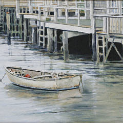 """Roy Bailey Oil on Canvas """"View of a Dory at North Wharf"""""""