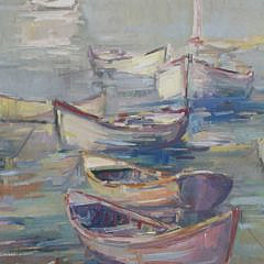 "David Lazarus Oil on Canvas ""Dories in Calm Waters"""