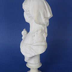 Continental Carved White Marble Bust of a Woman