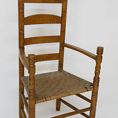 2172-955 Tiger Maple Shaker Style Ladderback Armchair A_MG_6274