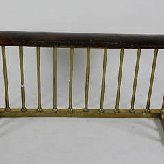 Antique English Brass Club Fireplace Fender